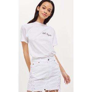 TOPSHOP White Denim Lace Up Mini Skirt 2